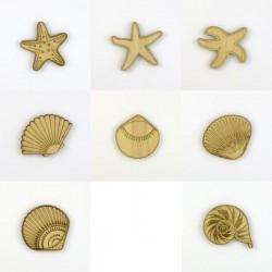 Pack de 8 Coquillages et étoiles de mer en bois