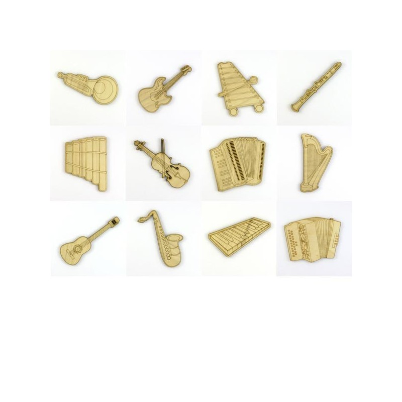 Pack 12 Instruments de musique en bois