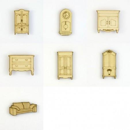 Pack de 7 meubles en bois découpé pour scrapbooking