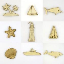 Pack de 9 objets du bord de mer en bois découpé