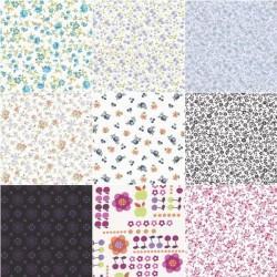 Tissu coton motif fleurs 30 x 35 cm