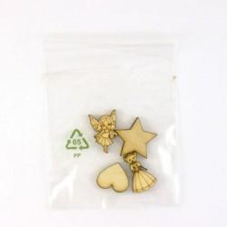 Pack de 4 objets , une fée, une princesse, une étoile et un coeur