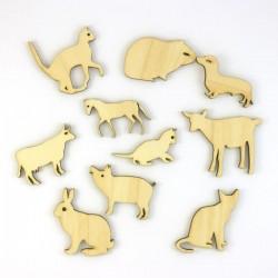 Pack de 10 animaux familiers en bois