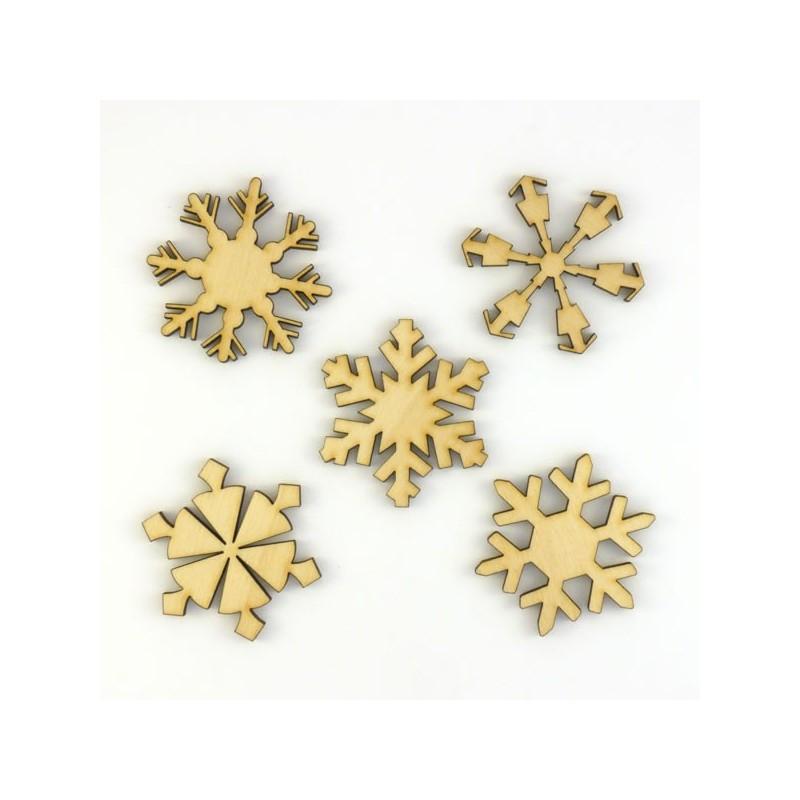 Pack n°2 - 5 cristaux de Noël (flocons) 40 mm