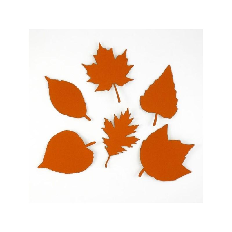 Pack de 6 feuilles rouille en papier expansé