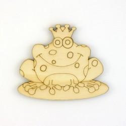 Prince grenouille en bois découpé