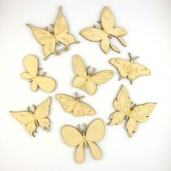 Pack de 9 papillons en bois découpé