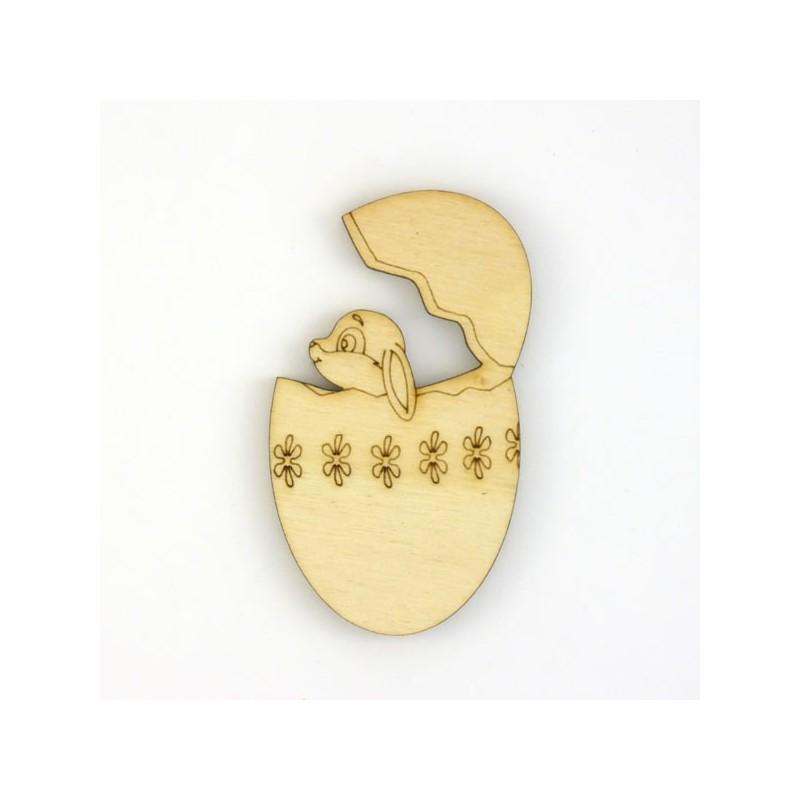Un lapin dans un oeuf de p ques en bois d coup et grav - Loisirs creatifs paques ...