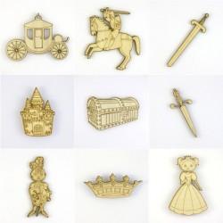 Pack de 9  objets médiévaux en bois