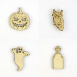 Pack Halloween N°2 citrouille, fantôme, hibou, pierre tombale