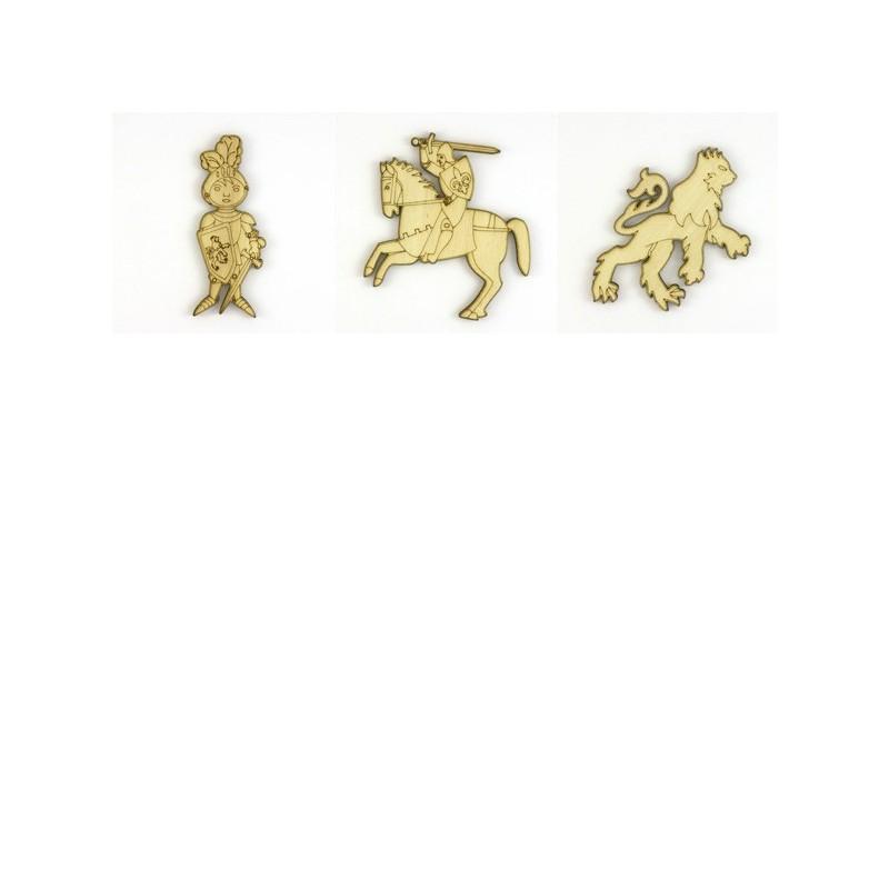 Pack médiéval 3 objets, chevaliers et lion