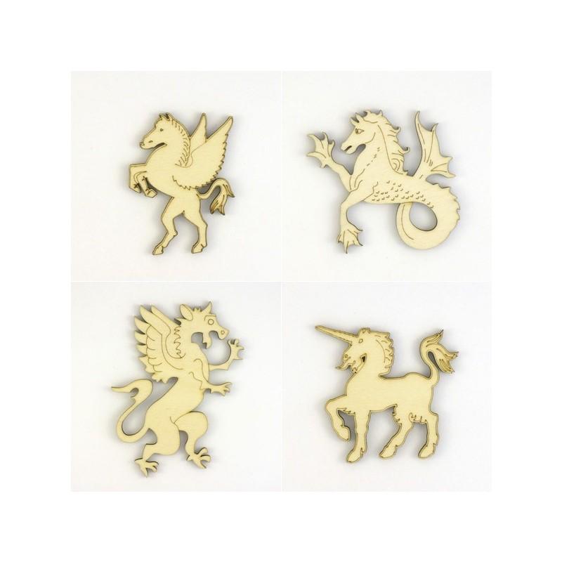 Pack 4 animaux fantastique pégase, hippocampi, murène n°3, licorne n°2