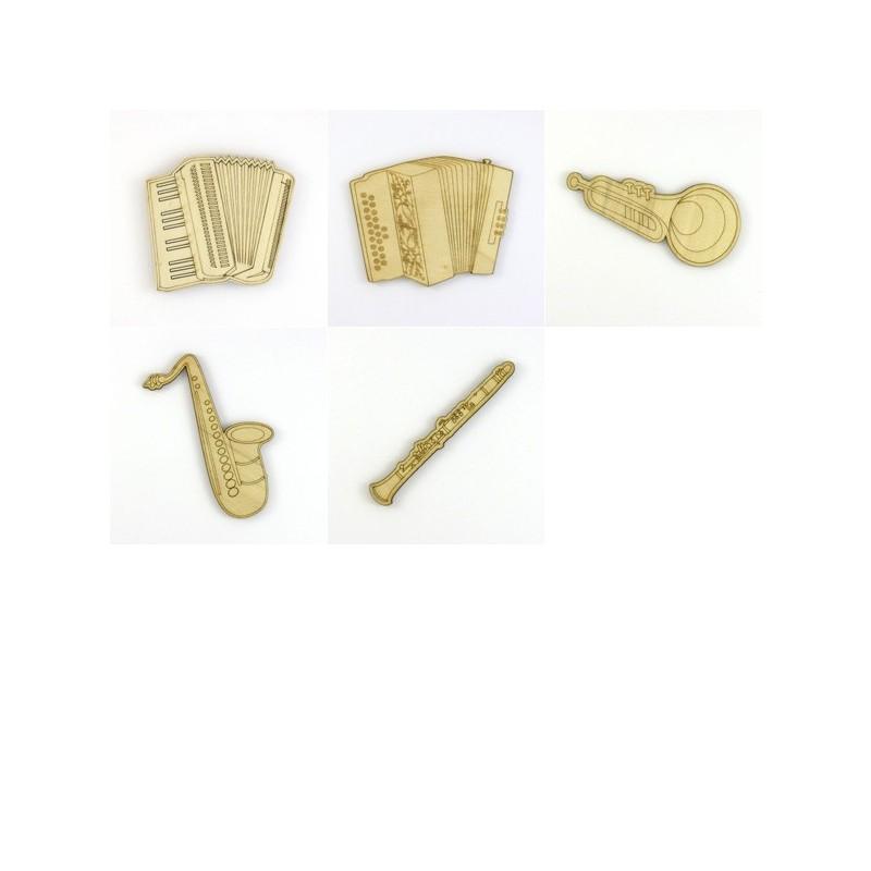 Pack 5 instruments à vent, saxophone, flûte, accordéons,trompette