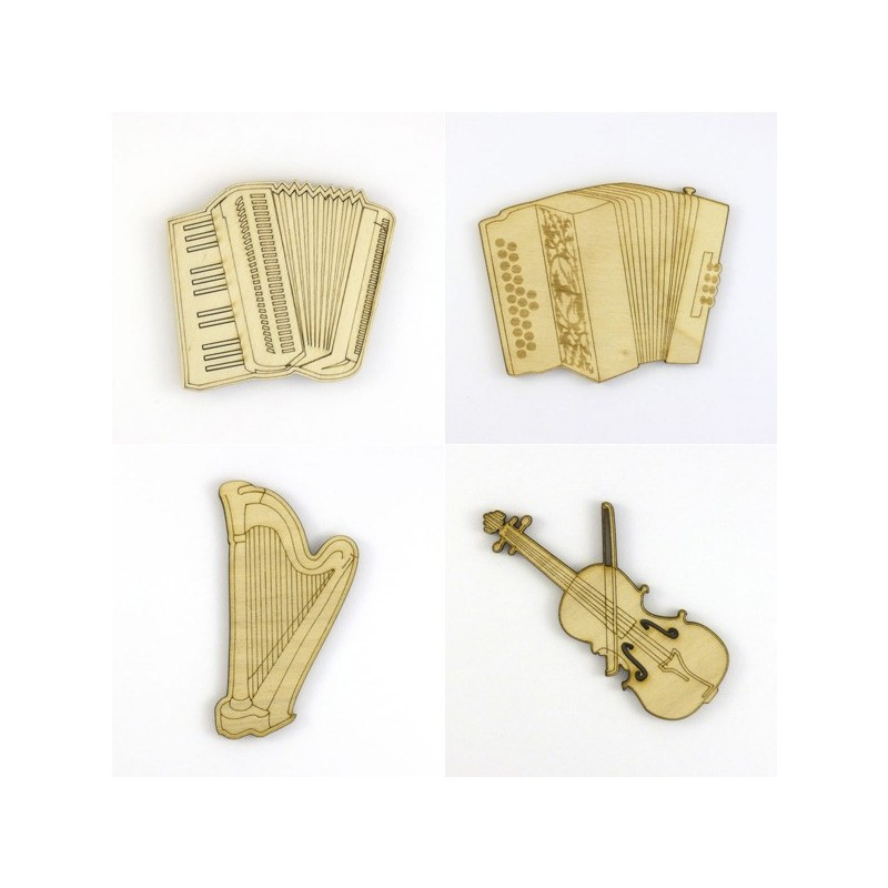 Pack 4 instruments de musique, accordéons, harpe, violon