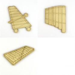 Pack 3 instruments de musique, flûte de pan, xylophone,  synthétiseur