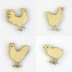 Pack oiseaux du poulailler, coq, poules, poussin