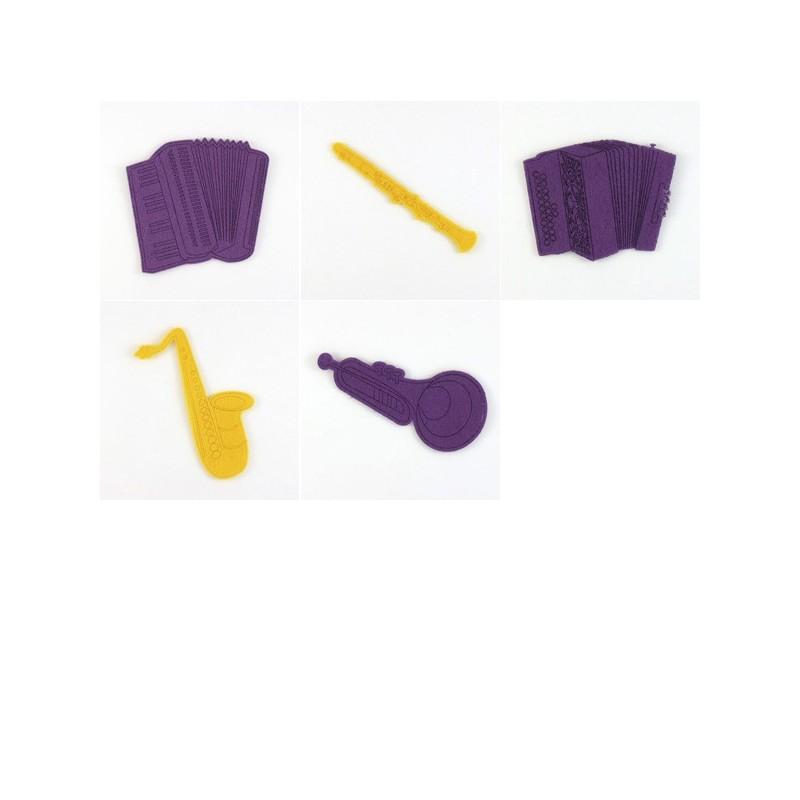 Pack de 5 instruments à vent en feutrine, accordéons, flûte, trompette