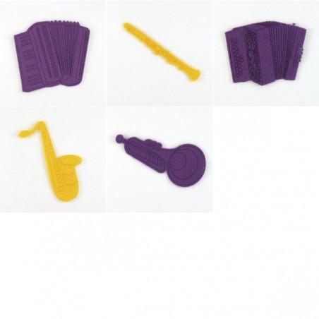 Pack de 5 instruments à vent, feutrine et coloris au choix
