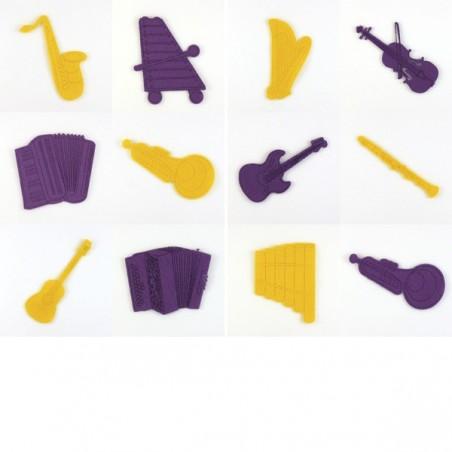 Pack 12 instruments de musique, feutrine et coloris au choix