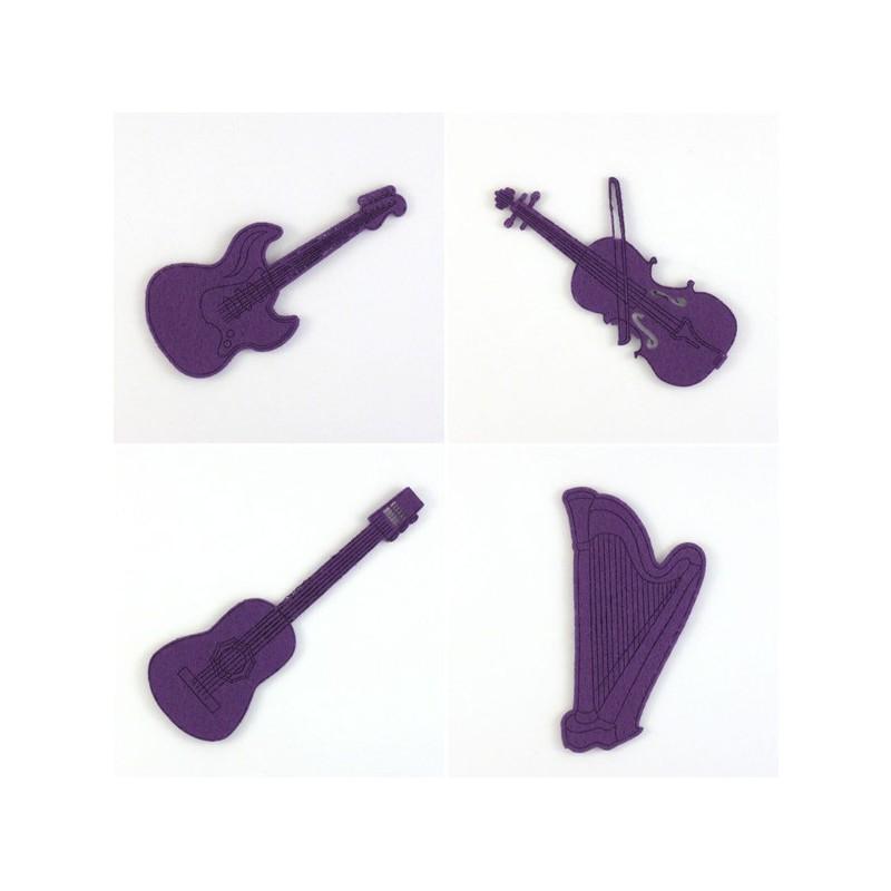 Pack 4 instruments à cordes en feutrine, guitares, harpe, violon