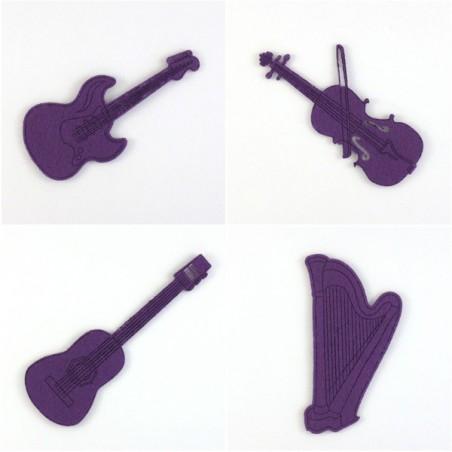 Pack 4 instruments à cordes,feutrine et coloris au choix