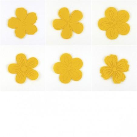 Pack de 6 fleurs, feutrine et coloris au choix