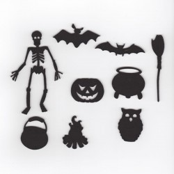 Halloween pack 4, squelette,chauve-souris,citrouille, chaudron... couleur au choix