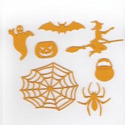 Halloween pack 5, sorcière,toile d'araignée,fantôme, citrouille... couleur au choix