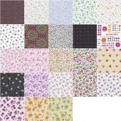 Coupon tissu coton motif fruits et fleurs 30 x 35 cm