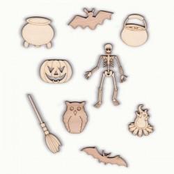 Pack Halloween N°4,squelette, balai de sorcière, chaudrons, chauve-souris, chouette, feu et citrouille