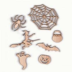Pack Halloween N°5, araignée, toile d'araignée, sorcière, chaudron, chauve-souris, fantôme, citrouille