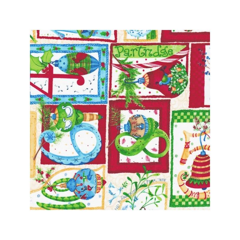 Coupon tissu coton Noël 25 x 35 cm