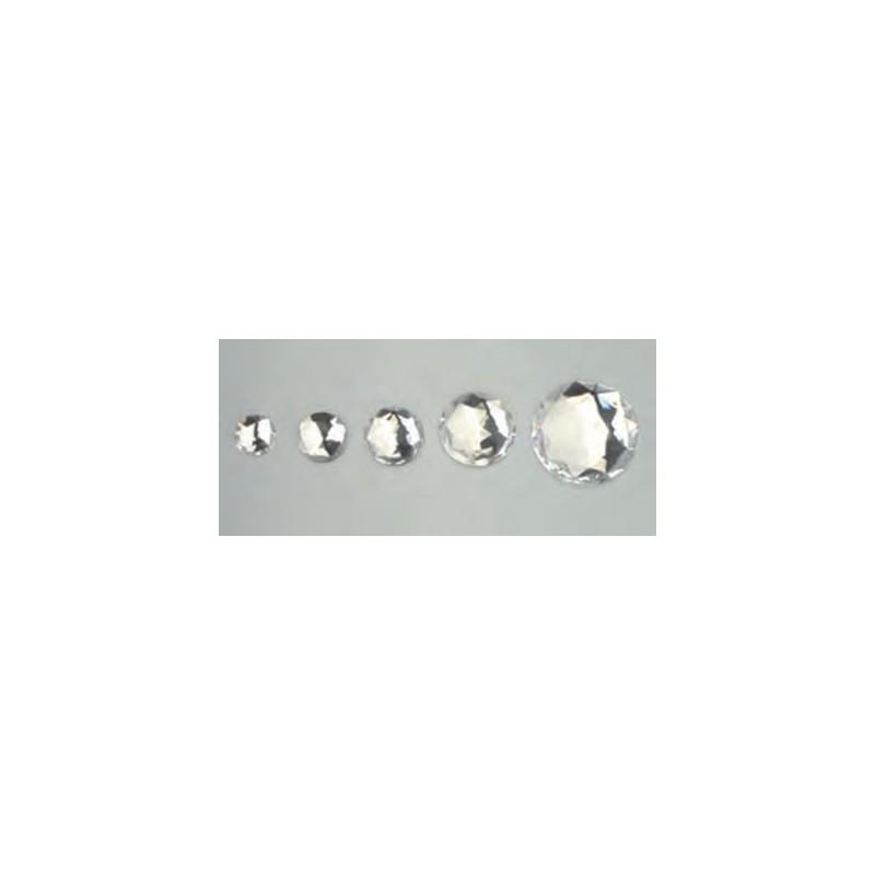 Cabochon en forme de rond, cristal, facetté, acrylique