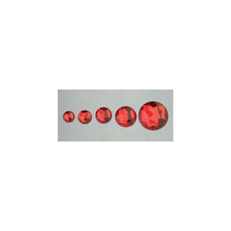 Cabochon en forme de rond, rouge, facetté, acrylique