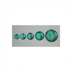 Cabochon en forme de rond, coloris vert, facetté, acrylique