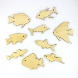 Pack de 9 poissons, thon, sardine, espadon... en bois