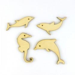 Pack de 4 dauphins et hippocampes en bois