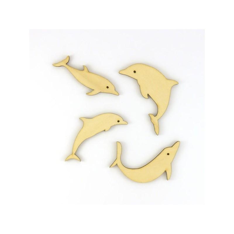 Pack de 4 dauphins n°2 en bois