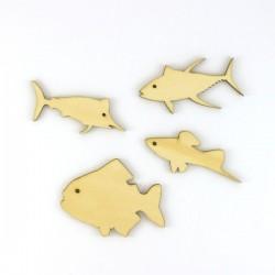 Pack de 4 poissons en bois