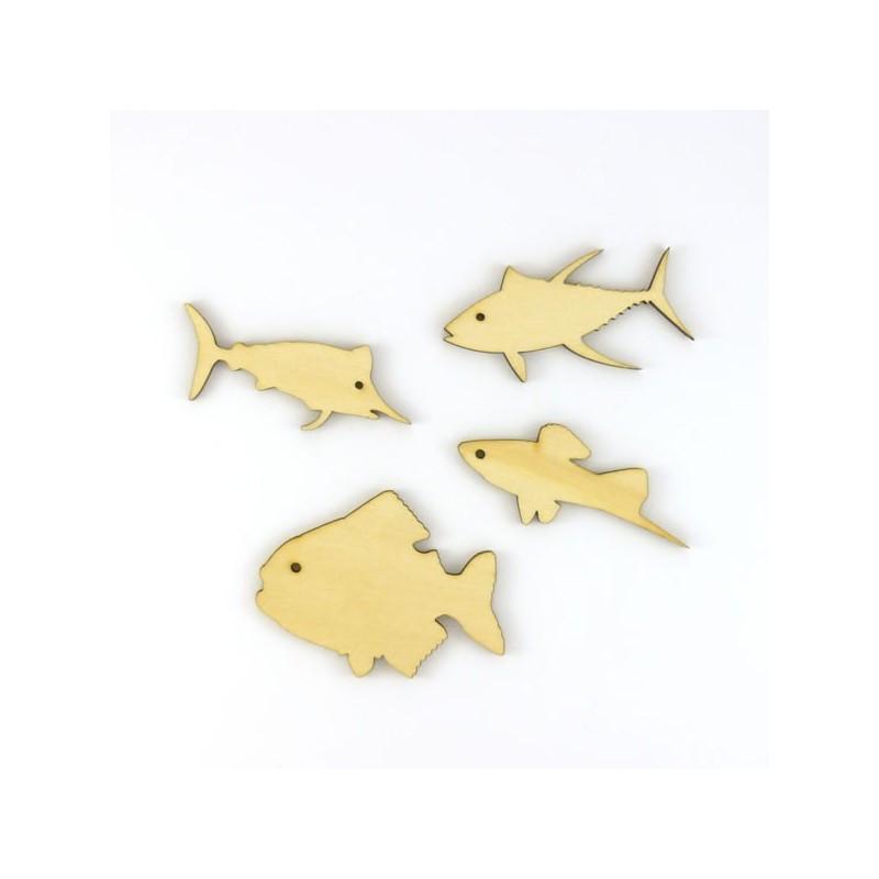 Pack de 4 poisson en bois