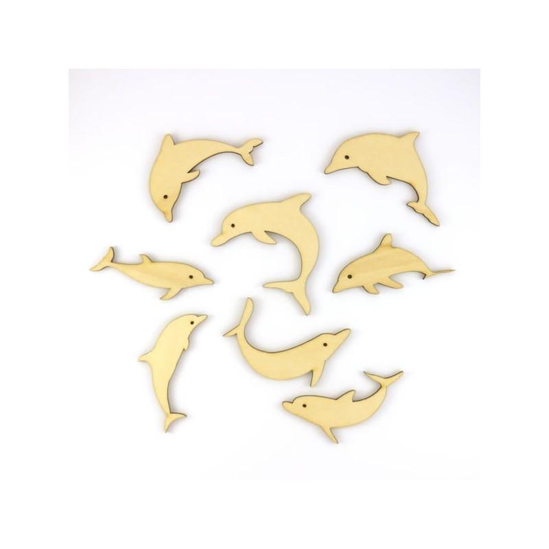 Pack de 8 dauphins en bois