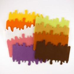 3 nappages, coulis rectangulaire pour buche de Noël ou gateau, feutrine et coloris au choix