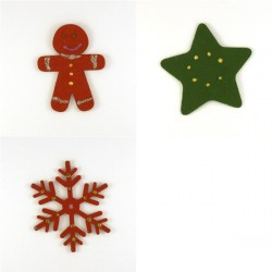 Pack 3 sujets de Noël n°2 en feutrine décorée
