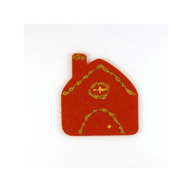 Maison en feutrine rouge - peinture dorée