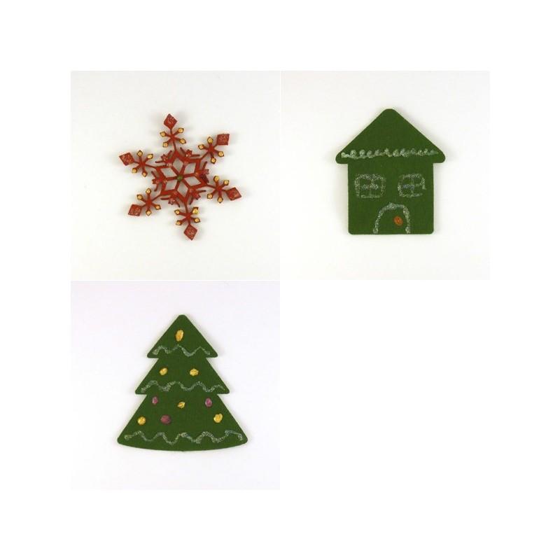 Pack 3 sujets de Noël n°3 en feutrine décorée