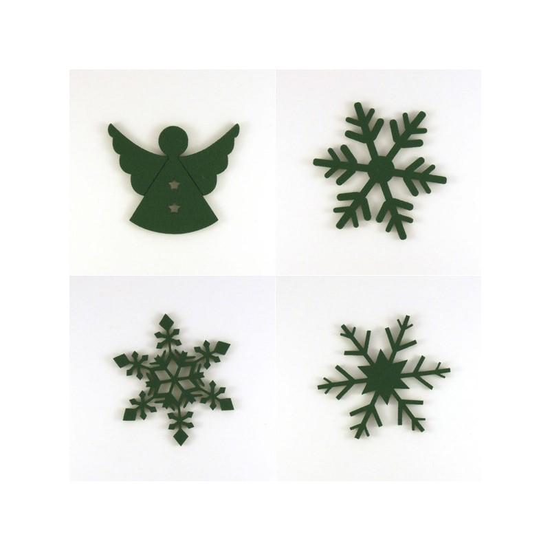 Pack 4 sujets de Noël en feutrine, ange et cristaux de noël