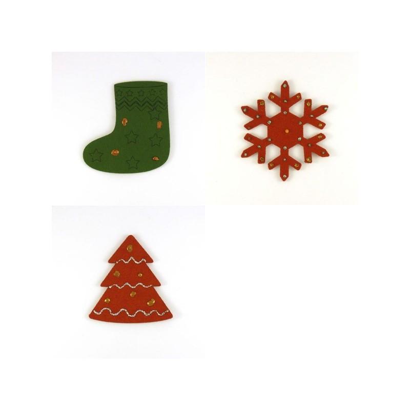Pack 3 sujets de Noël n°4 en feutrine décorée