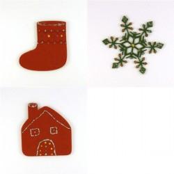 Pack 3 sujets de Noël n°5 en feutrine décorée