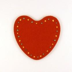 Coeur en feutrine rouge - peinture verte et dorée