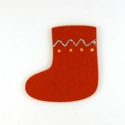 Botte de Noël en feutrine Rouge - peinture or et argent